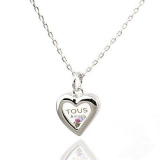 Elements Crystal Tous Style Heart Necklace White Gold GP 18 US Seller