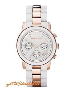 New Michael Kors Rose Gold and White Silicone MK5464 Runway Womens