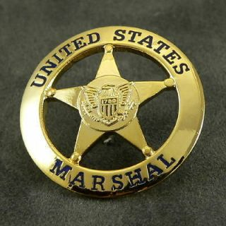 Marshal Service USMS Lapel Pin Novelty Mini Badge 1 Inch Toy Prop Gold