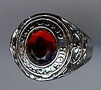 VINTAGE SILVER RED FACETED GLASS HIGH SCHOOL CLASS RING CHARM