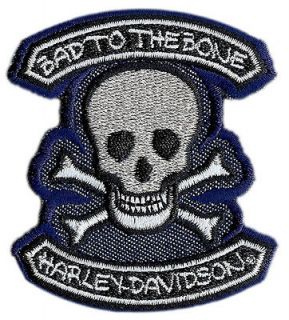 HARLEY DAVIDSON BAD TO THE BONE YOUTH PATCH   SKULL AND CROSS BONES