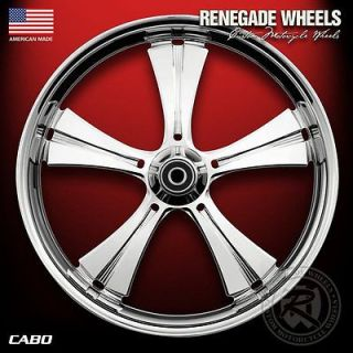 RENEGADE CABO CHROME 21 WHEELS PACKAGE SET TIRES HARLEY FLH/FLT 08