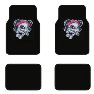 4pc Lady Skull Girl Skeleton Pink Bow Black Carpet Car SUV Floor Mat