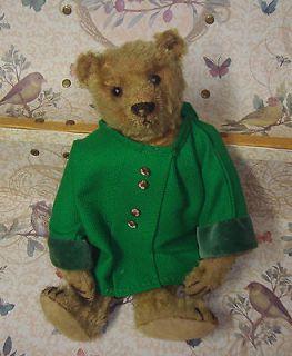 Antique Steiff Teddy Bear   11 tall   Wearing Green Coat