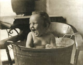 Vintage Bathing Antique Bath Little Boy Laughing in Wash Tub Ivory