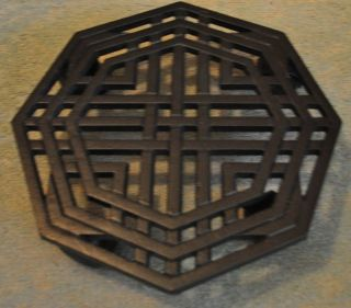 BLACK WROUGHT IRON PLANT CADDY ON WHEELS~OCTAGON AL SHAPE/WEAVE DESIGN