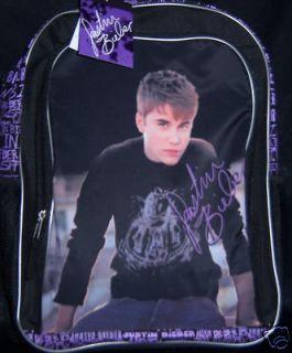 JUSTIN BIEBER Backpack   16 LARGE Book Bag   Silky Front Black