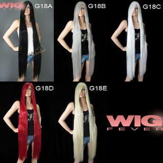 Long Black / Grey / White / Red / Light Blonde 48 Straight Fashion