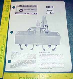 WHEEL HORSE TILLER 7 1231 INSTRUCTION & PARTS LIST