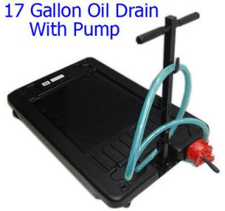 17 Gallon Low Profile Portable Truck Car Oil Drain Pan with Pump FREE