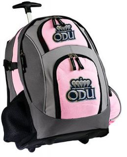 University Wheeled Backpack ODU Bag with Wheels Pink CarryOn Ladies