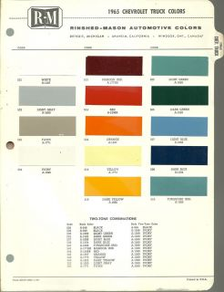 1965 CHEVROLET TRUCK Color Chip Paint Chart Brochure R M, RM