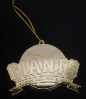Francisco SF Giants Christmas Tree Ornament Holiday Gold Plated 2011
