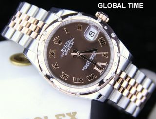 Midsize Rolex 178341 Rose Gold And Steel CHOCOLATE DIAMOND DIAL G 2011