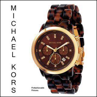 NEW 2011 MICHAEL KORS TORTOISE GOLD GLITZ CHOCOLATE MOP DIAL MK5216