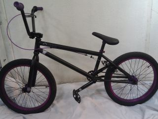 Kink Launch 2013 BMX Bike Flat Black with Purple Rims and Grips