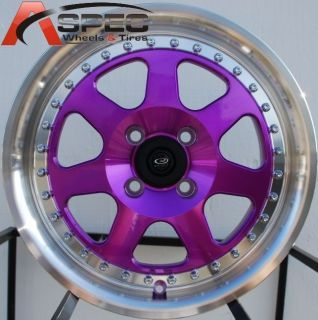 Wheels 4x100 Purple Rims ET40MM Fits 4 Lug Honda Fit 2007 2012