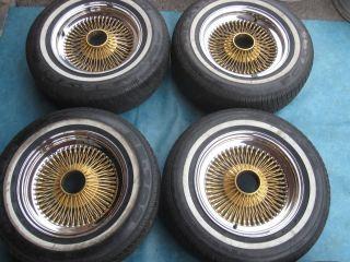 15 Dayton Wire Rims Wheels Tires Chrome Gold