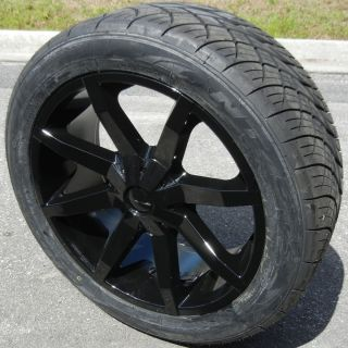 22 BLACK KMC SLIDE WHEELS RIMS & NITTO NT420S TIRES CHEVY TAHOE YUKON
