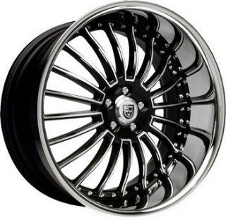 20 inch 20x10 Lexani LSS 11 Black SS Lip Wheel Rim 5x112 S4 S5 S6 S8