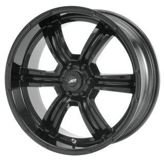 Racing rench AR320 6 Lug Black Wheels 4 New FREE Caps Lugs Sems