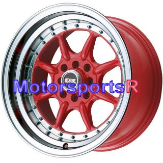 16 16x8 XXR 002 RED Rims Wheels Deep Dish Lip 4x100 Stance 98 02 Honda
