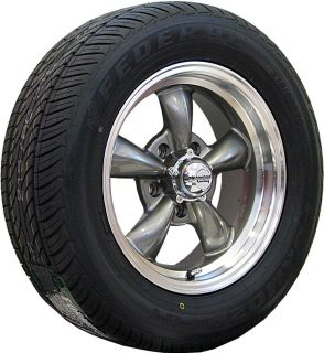 15x6 15x7 GRAY REV CLASSIC 100 WHEELS RIMS & TIRES FORD MUSTANG 1966