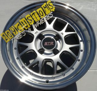 15 STR 502 SILVER MACHINED LIP 15X8 4X100 +10MM OFFSET WHEELS TIRES