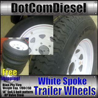 14 Trailer Tires Bias Ply White Spoke Wheels Rims 14 Set of 2