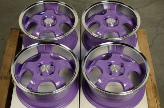 Purple Low Offset Wheels 25 Cobalt Scion XA Xb MR2 Polished Lip Rims