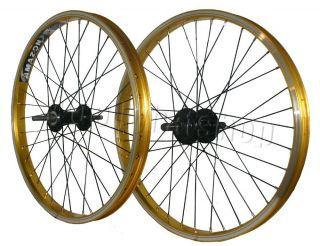 BMX Wheels Weimann Rim 20 Rims Quando Hubs 14mm Gold