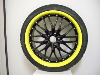 20 MRR GT1 Black Yellow Lip Rims Wheels Mazda RX8 Ford Mustang GT G35