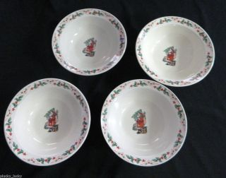 Christmas Santa Claus Holly Gibson Rim Soup Bowls