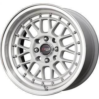 DR 44 15x8 25 4x100 4x114 3 et25 White w Polished Lip Rims Miata Fit