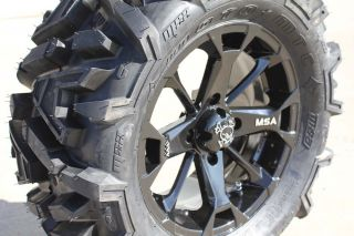 MSA Elixir Black 14 ATV Wheels 28 EFX Moto MTC Tires Sportsman RZR