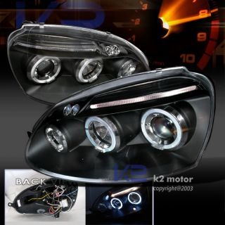 For VW MK5 Jetta Golf R32 LED Halo Rim Projector Headlight Blk Pair