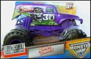 Hot Wheels Monster Jam Truck PURPLE GRAVE DIGGER 1 24 30th Anniversary