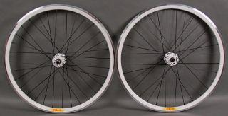 Deep V Track Bike Fixed Gear Wheels Black White Machined Rims 32h