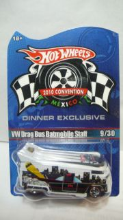 Hot Wheels Mexico Convention VW Drag Bus Batmobile Staff 9 30