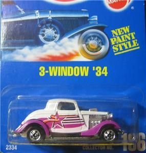 Hot Wheels Blue Card 3 Window  34 196