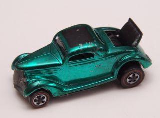 Vintage Mattel Hot Wheels Redline Classic 36 Ford Coupe Metallic Green
