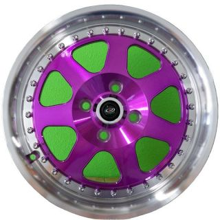 15 Rota J Mag Rims Wheels Purple 15x7 40 4x100 Fits Civic Integra