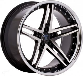Black Machined Face Staggered Wheels Rims Fits Infiniti G35 G37