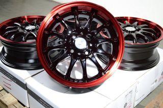 15 Red Effect Black Wheels Rims 4x100 Aerio Corolla Esteem MR2 Yaris