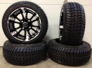 Fairway Alloys SIXER Wheels 12 205x30 12 Golf Tires 4 EZGO Club Car