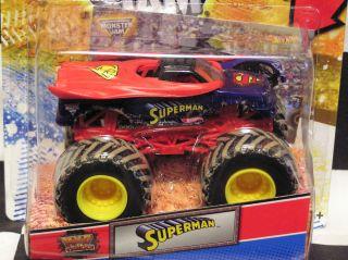 Hot Wheels 2012 Superman w Topps Card Monster Jam Truck