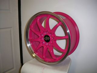 16 ROTA FIGHTER PINK RIMS WHEELS 16x7 +40 5x114.3 CIVIC RSX ECLIPSE XB