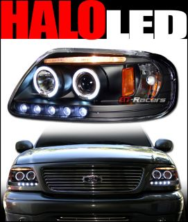 BLACK DAYTIME LED HALO RIMS PROJECTOR HEADLIGHTS SIGNAL PARKING 97 03