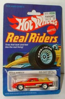 Hot Wheels Real Riders Dodge Rampage Red w White Hubs Mint on Card