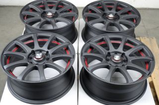 Matte Black 4 Lug Wheels Lancer Accord Civic Passat Jetta Rims